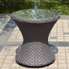 Wicker Accent Table Adeco 3 Accent Grey Wicker Chat Set Ft0110 1 2