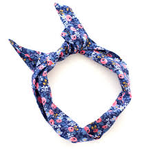 wire headband floral print navy and pink wire headband rifle paper co fabric