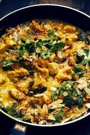 c est au programme recettes de cuisine p poulet à l indienne et riz indien aux épices pour un plateau