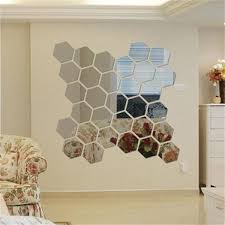 Hexagonal Mirror Dimensional Wall Stickers TV Backdrop Wall - Home decorative mirrors