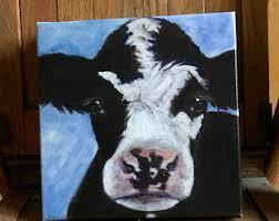 primitive cow art etsy