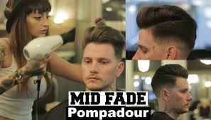 pompadour haircut mens mid fade pompadour hairstyle tutorial 2018 with female barber