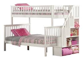 Amazoncom Woodland Staircase Bunk Bed White Twin Over Full - White bunk beds twin over full with stairs