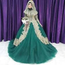 muslim wedding dress gorgeous green tulle gold lace sleeve muslim wedding