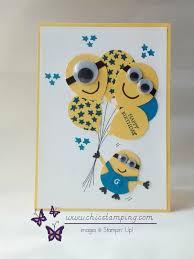 minion happy birthday card with new ballon celebration stamp set