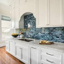 backsplash ideas dream kitchens white kitchen cabinets with blue mini brick backsplash tiles