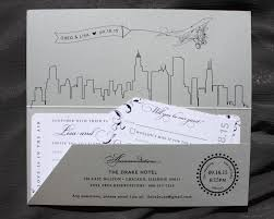 wedding invitations chicago chicago skyline vintage swirls airplane boarding pass wedding