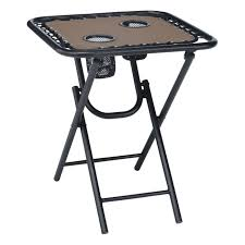 living accents 18in tan bungee folding table cafe and side