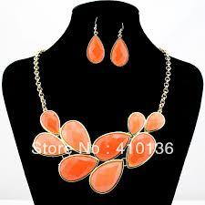orange necklace sets images Pn12375 fashion jewelry set orange color bib necklace set new jpg