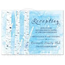 winter birch tree wedding reception card navy blue white