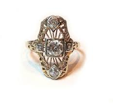art deco 14kt yellow gold filigree diamond shield ring picture