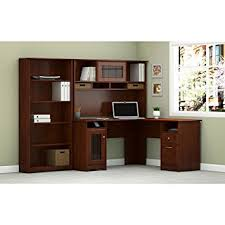 L Shaped Desk With Bookcase Cabot L Shaped Desk With Hutch And 5 Shelf Bookcase