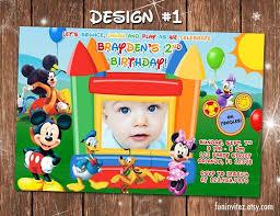 mickey mouse bounce house birthday photo invitations custom
