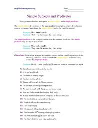 simple subjects and predicates 7th 8th grade worksheet lesson
