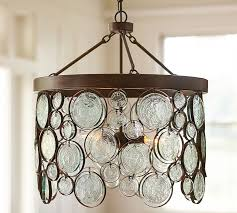 Indoor Chandeliers Emery Indoor Outdoor Recycled Glass Chandelier Pottery Barn
