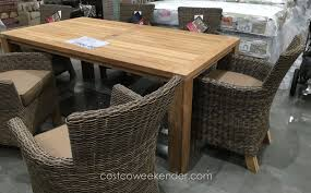 Teak Outdoor Dining Tables Patio Exciting Costco Patio Set Patio Furniture Cushions