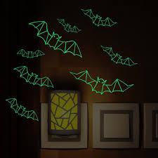 wholesale 3d bats glow in the dark halloween wall art stickers