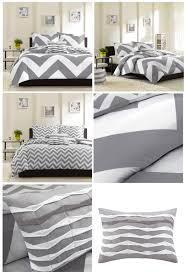 Teenage Duvet Sets Grey White Large Chevron Bedding Teen Twin Xl Full Queen King