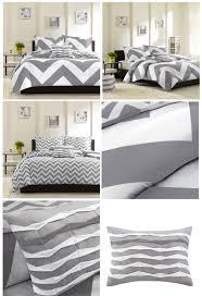 grey white large chevron bedding teen girl twin xl full queen king comforter quilt duvet cover set