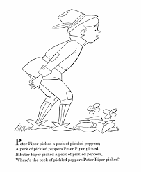 bluebonkers nursery rhymes coloring page sheets peter piper