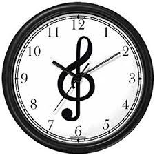 theme clock treble clef musical or theme wall clock by