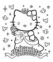 Coloring Excelent Princess Coloring Pages Hello Kitty Page For Princess Coloring Pages