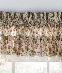 White Curtains With Green Leaves by Ruffled Tiers Curtains Window Toppers