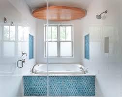 turquoise glass tile bathroom modern with aqua blue clerestory