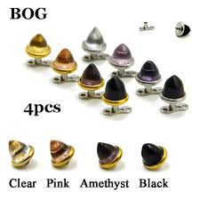 Types Of Dermals 4pc 316l Stainless Steel Assorted Colors Glass Cone
