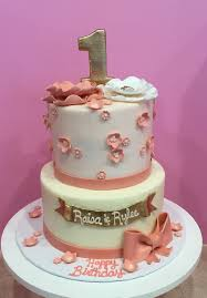 dusty rose and gold floral first birthday cake 3 sweet girls cakery