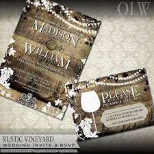 vineyard wedding invitations rustic vineyard wedding invitation and rsvp vineyard wedding