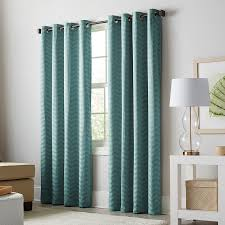 Grommet Chevron Curtains Shop Allen Roth Taventry 84 In Mineral Polyester Grommet