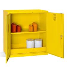 Yellow Metal Storage Cabinet Hazardous Substance Cabinet 1 Shelf These Robust Metal