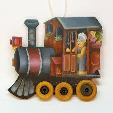 teddy bear driving a train hand painted flat wooden christmas ornament