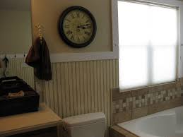 white painted wall bathroom mixed striped pattern beadboard
