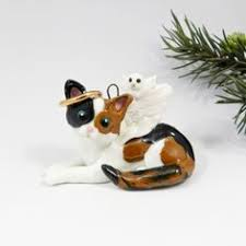 polymer clay calico cat ornament figurine