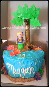 hula beach theme birthday cake