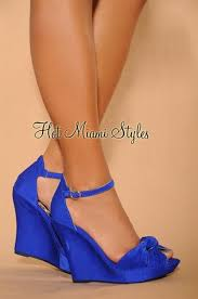 royal blue knotted front ankle strap wedge sandals wedding