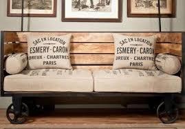 canap style industriel français rétro rustique bois tables et chaises forgé table basse de