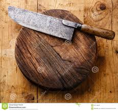 chopping block and meat cleaver stock photo image 64118536