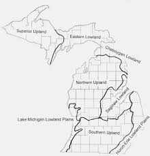 Map Of Michigan Lakes by Physiographic Regions Of Michigan