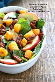 roasted butternut squash apple cranberry salad with harrissa