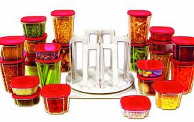 Red Canisters For Kitchen Amazon Com Handy Gourmet Swirl Around Organizer Kitchen Storage