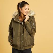 er style jacket with fur lined hood women size 34 to 48 kaki