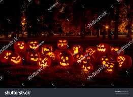 group candle lit carved halloween pumpkins stock photo 224626102