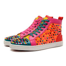 christian louboutin louis multicolor spikes high top sneakers