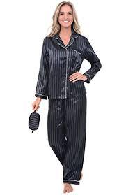rossa womens satin pajamas button pj set