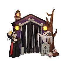 8 5 foot halloween inflatable castle with skeleton ghost u0026 skulls