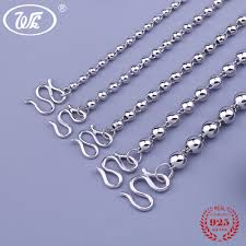 silver ball beads necklace images Wk 100 925 sterling silver beads necklace men women boys girls jpg