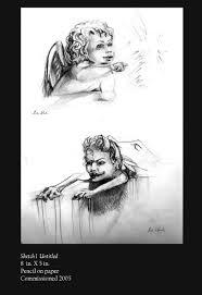 leah rush artwork angel and demon sketch original drawing